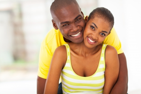 african american couple: close up portrait of young happy african american couple Stock Photo
