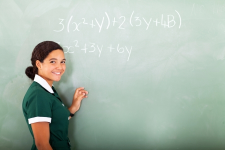 happy young middle school doing mathematics on the blackboard photo