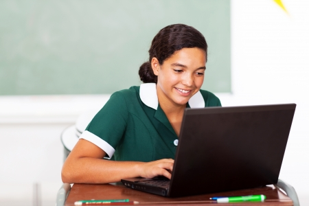 classwork: schoolgirl doing classwork using computer in classroon