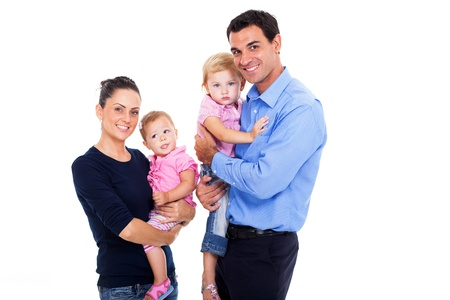 portrait of young famity on white background photo