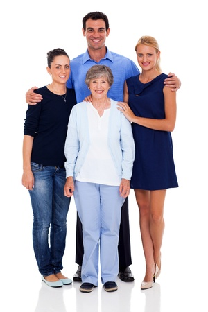 happy senior mother and her adult children studio portrait isolated on white