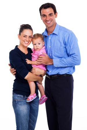 man carrying woman: portrait of happy family of three isolated on white