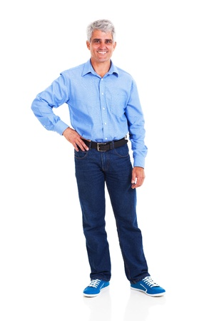 happy middle aged man with hand on hip isolated against white background photo