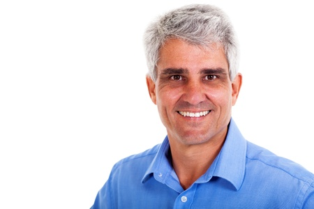 middle aged man: cheeful senior man on white background