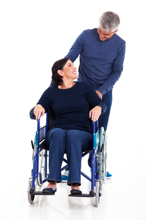 mature man talking to disabled wife isolated on white photo