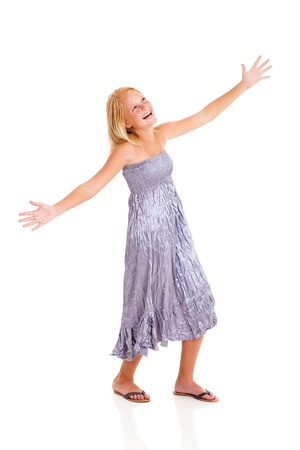 pre adolescents: cheerful pre teen girl full length portrait isolated on white Stock Photo
