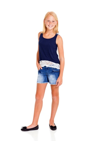 pre adolescents: pre teen girl full length portrait on white
