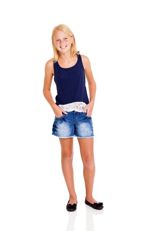 pre adolescents: cute blond girl full length portrait on white