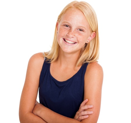 preteen girls: cute pre teen girl half length portrait on white