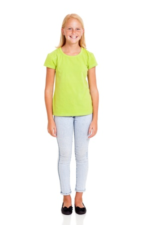 pre adolescents: pretty preteen girl full length portrait isolated on white