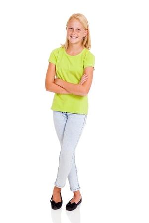 cute teen girl: красивые предварительно подростка девушка полная длина портрет, изолированных на белом Фото со стока