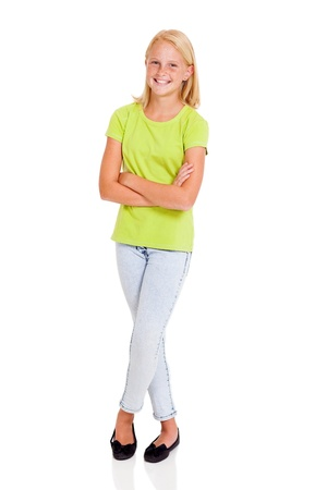 pre adolescents: beautiful pre teen girl full length portrait isolated on white