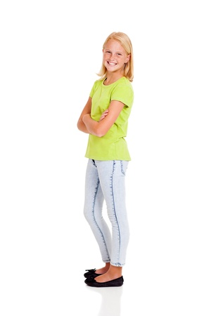 happy preteen girl side view portrait isolated on white photo