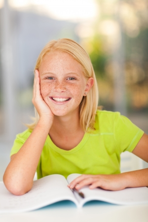 pre adolescents: preteen schoolgirl portrait at home