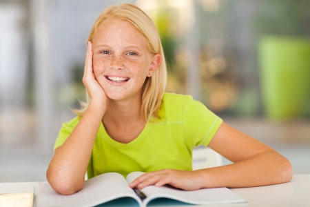 pre adolescents: cute preteen girl portrait at home Stock Photo
