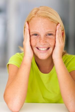 pre adolescent girl: beautiful teen girl closeup portrait