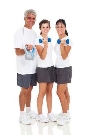 healthy family exercising on white background photo