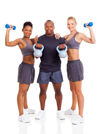black man white woman: group of young adult exercising over white background