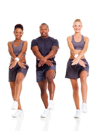 group of fit people working out on white background photo