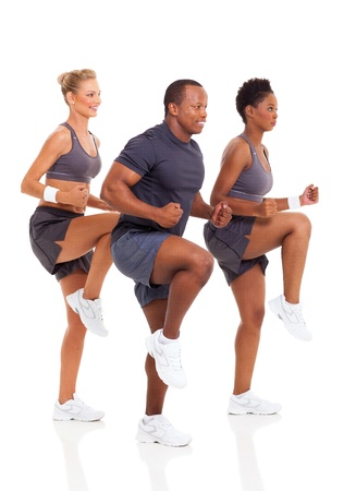 aerobic exercise: healthy group of people exercise on white background
