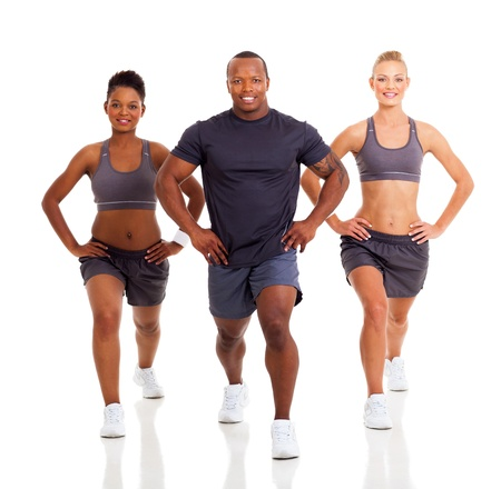 three healthy people exercising on white background photo