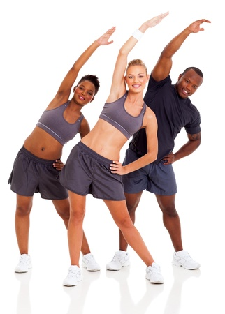 healthy three people workout and stretching arms over white background photo