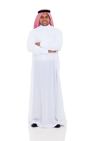middle eastern clothes: smiling arabian man full length portrait isolated on white background