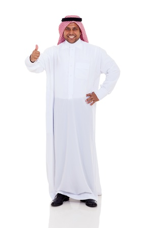 middle eastern clothing: cheerful arabic man giving thumb up on white background