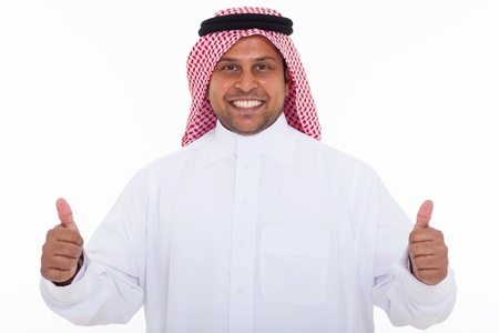 happy arabian man giving thumbs up on white background