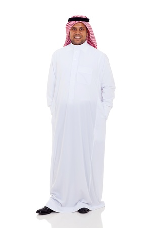 thobe: handsome arabic man in thobe standing on white background