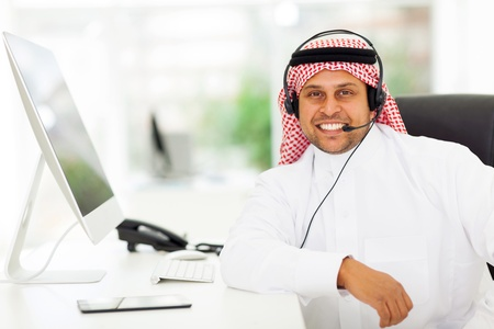 male arabian call center worker in office photo