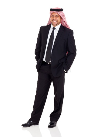 cheerful middle eastern businessman wearing black suit on white background photo