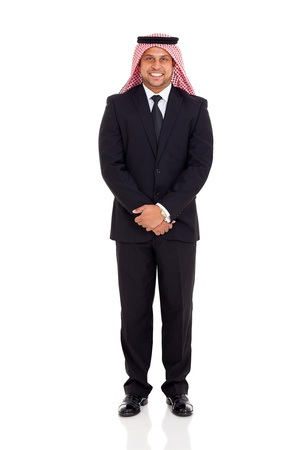 happy muslim man in black suit on white background photo