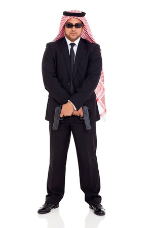 bodyguard: arabian bodyguard holding two handguns Stock Photo
