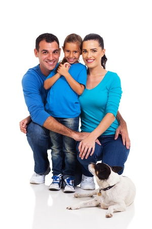 child couple: smiling little girl with her parents and their pet dog isolated on white background