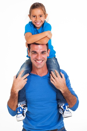 shoulder ride: cheerful daughter sitting on fathers shoulders white background