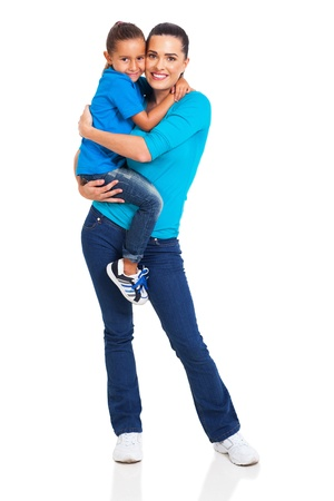 relationship mother and daughter: beautiful woman carrying her little girl isolated on white background Stock Photo