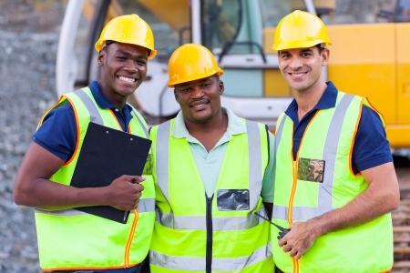 building worker: portrait of smiling construction workers  Stock Photo