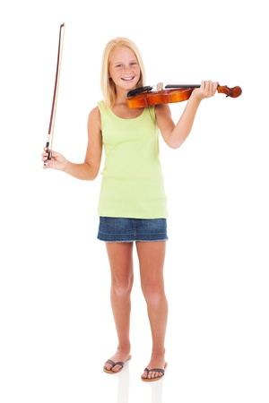 cheerful preteen girl with violin and bow on white background photo