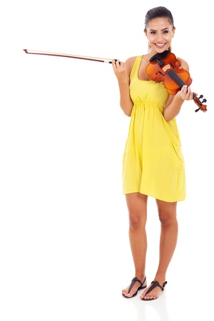 beautiful musician with violin on white background photo