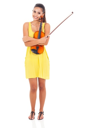 pretty woman holding a violin isolated on white photo