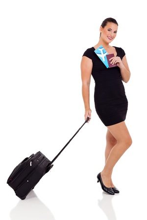 cheerful businesswoman with luggage bag and air ticket on white background Stock Photo - 20022039