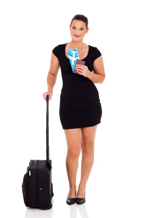 beautiful businesswoman travelling isolated on white background photo