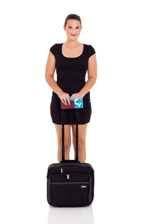female business traveller with bag on white background photo