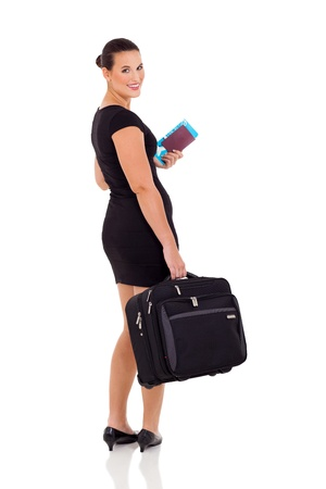 beautiful businesswoman going on business trip isolated on white photo