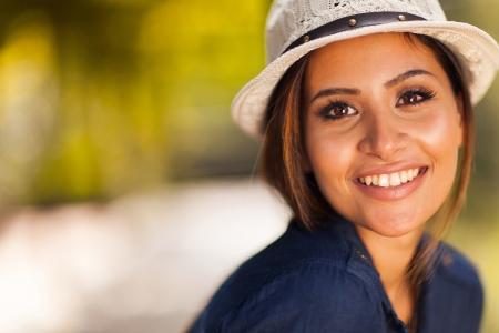 close up: beautiful young woman closeup portrait outdoors