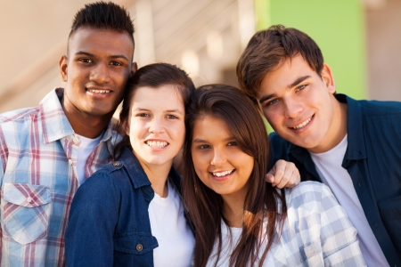 group of cheerful teenage friends closeup portrait outdoors Stock Photo - 20235271