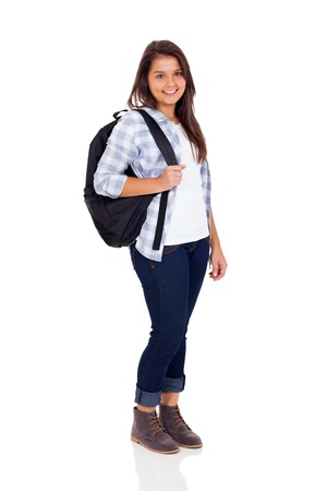 indian school girl: smiling teen high school girl with backpack isolated on white background Stock Photo