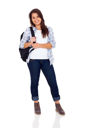 beautiful teenage girl with backpack standing on white background photo