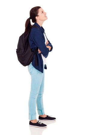 cutout: side view of female high school student looking up on white background Stock Photo